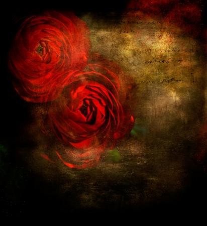 Roses rouges sur fond grunge noir avec copie espace Banque d'images - 15088057