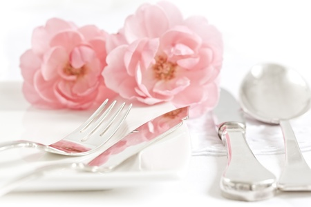 fine silver: Silver wares and romantic decoration with roses