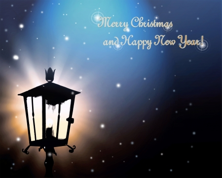 streetlamp: Street lamp lights in the night with snowflakes to Christmas  Stock Photo