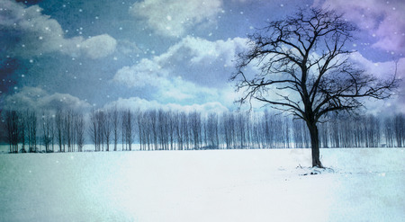 Watercolor winter landscape with tree and snow Stock Photo