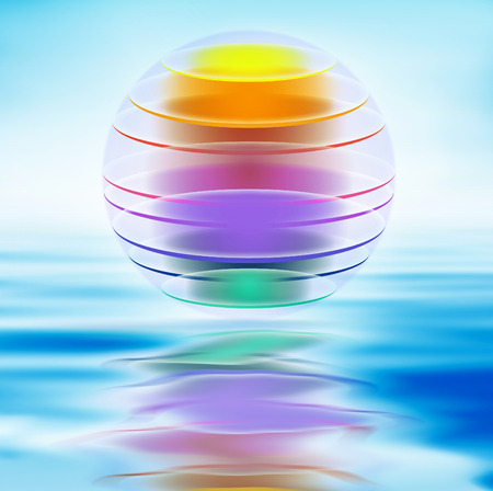 layered sphere: Colorful layer ball illustration with water and reflection