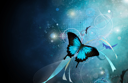 Blue butterfly on blue space background with abstract patterns