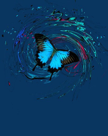 Blue butterfly with splash and swirls