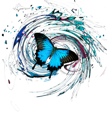 Blue butterfly with splash and swirls on white background