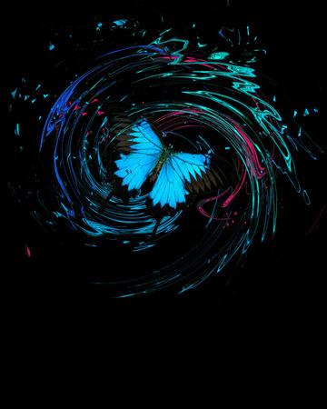 Papillon bleu avec éclaboussures et remous Banque d'images - 75705042