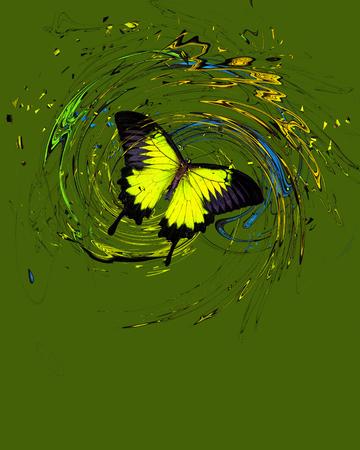 Papillon bleu avec éclaboussures et remous Banque d'images - 75705044