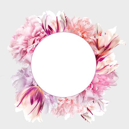 Fleurs de pivoine rose avec cadre et espace de copie Banque d'images - 93712558