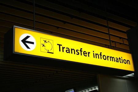 airport sign with Transfer information Stock Photo - 959942
