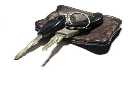 a set of car keys isolated on white photo