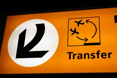 transfers: information sign at Schiphol airport in Amsterdam with direction to transfers Stock Photo