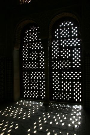 arched doors at Alhambra palace in Granada, Spain