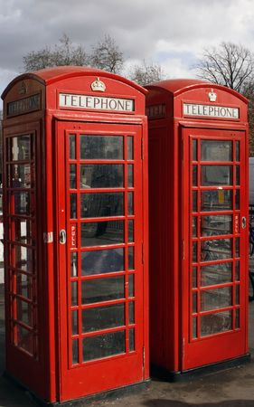 two red London telephone boxes on a street Stock Photo - 963651