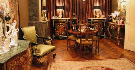 livingroom: Antique dining room  in Empire style Stock Photo