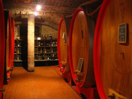 piedmont: old wine cellar in Italy with big casks