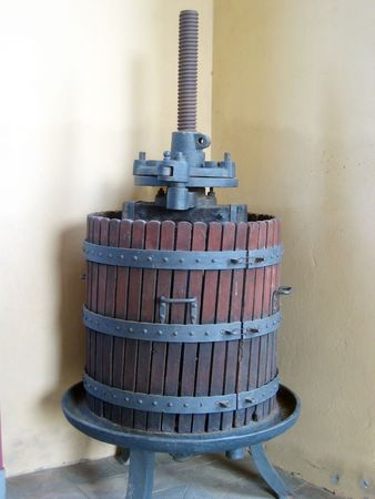 winepress: original italian wooden wine press for pressing grapes