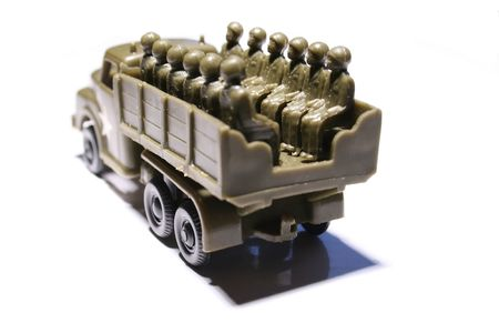 plastic soldier: toy truck with soldiers
