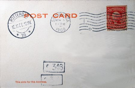 postmarked: Vintage postcard 0f 1908 with stamp and postmarks, postmarked savannah, GA and Rotterdam, The Netherlands