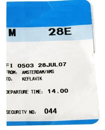 boarding card: blu e bianco della carta d'imbarco con destinazione Keflavik in Islanda