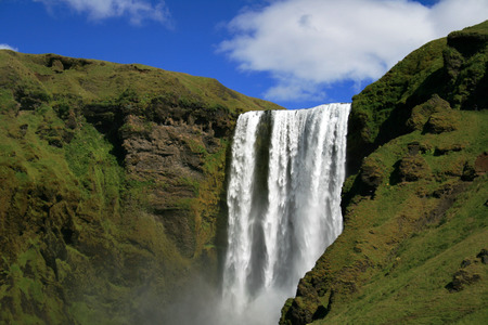 Big and famous waterfall Skogafoss in Iceland Stock Photo