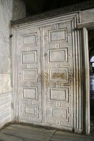 mehmed: White marble door inside Aya Sofia in Istanbul