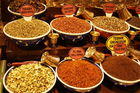 Colorful display of different spices on a market in Istanbul