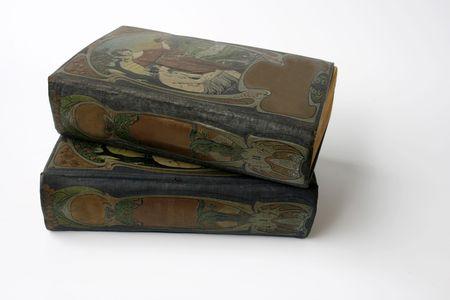 jugendstil: two antique books with beautiful illustrated jugendstil covers Stock Photo