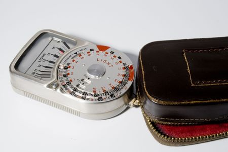 very good vintage light meter with brown leather case photo