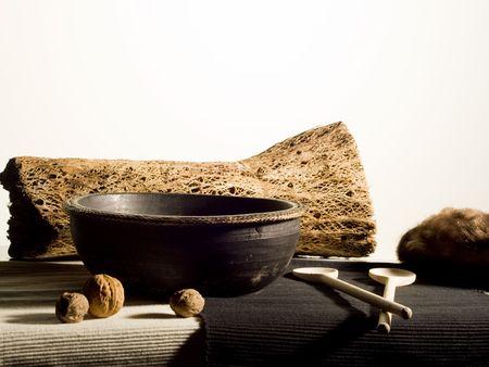 stillife: stillife with bark, bowl walnuts and spoons