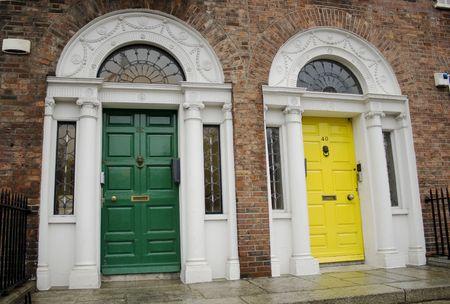 green and yellow Georgian Dublin doors Stock Photo - 2119844