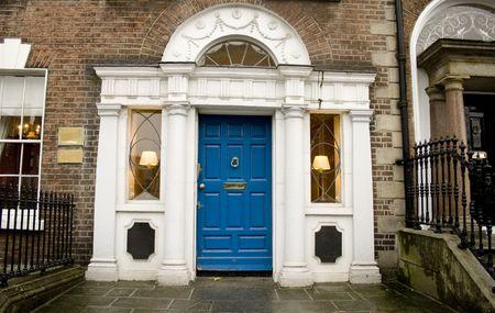 fanlight: Beautiful Georgian house with blue door on Georgian street in Dublin, Ireland Stock Photo