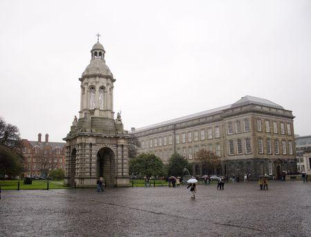 Courtyard of Trinity college in Dublin Ireland on a rainy day