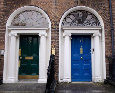 Georgian doors in green and blue Stock Photo - 2158525
