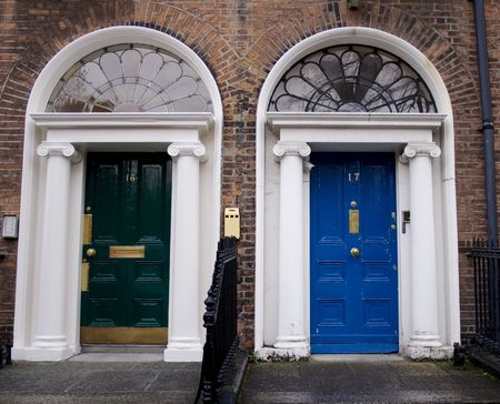 fanlight: Georgian doors in green and blue Stock Photo