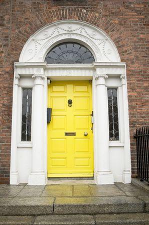 fanlight: Typical Georgian Dublin door in yellow