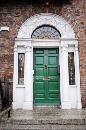 Green door in Georgian architecture in Dublin photo