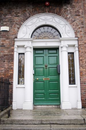 fanlight: Green door in Georgian architecture in Dublin Stock Photo