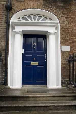 Typical Georgian door in Dublin, Ireland photo