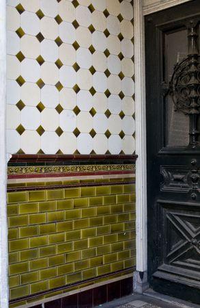 vintage door and beautiful ceramics in european architecture Stock Photo - 2251900