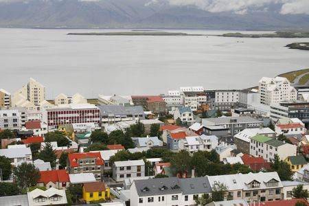 reykjavik: colorful houses in Reykjavik near the bay