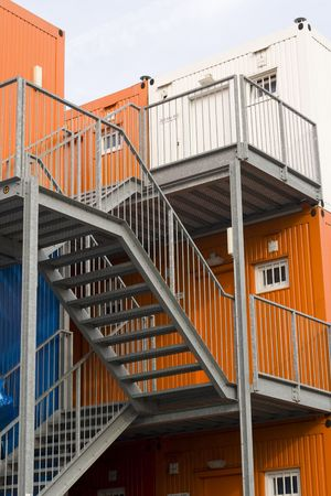 housing problems: fire escape at cargo containers used as student appartments in Amsterdam