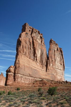 dome rock: Huge dome rock in Arches national park Stock Photo