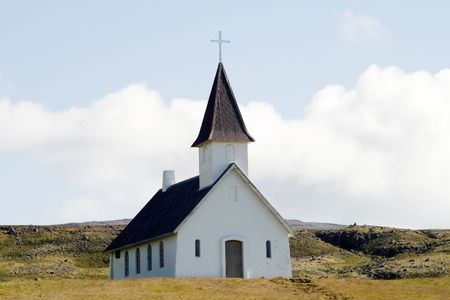 Small church in remote area of Iceland photo