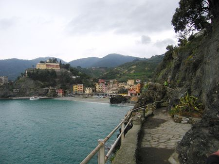 amore: View on Monterosso in Cinqueterre in Italy from walking path Stock Photo