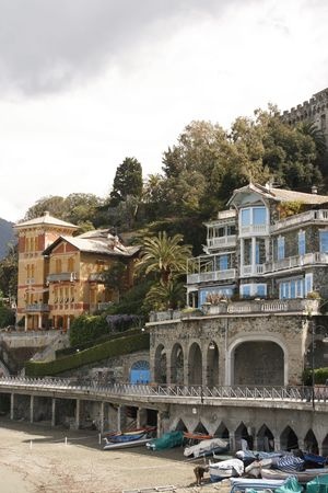 fishingboats: Beautiful villas with view on mediterranean in Levanto in Italy
