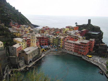 vernazza: Beautiful colorful town of Vernazza in Cinqueterre on Italian mediteranean coast.