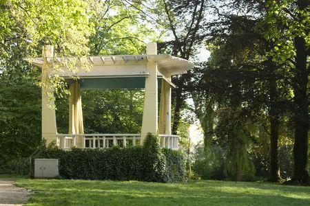 Antique music gazebo in english style park in European town Stock Photo - 3047871