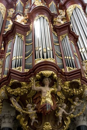 played: Famous M�ller organ from 1738 in St. Bavo church in the Netherlands. H�ndel and Mozart have played on this organ. Stock Photo