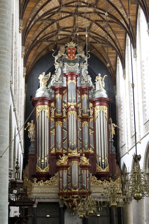 mozart: Famous M�ller organ from 1738 in St. Bavo church in the Netherlands. H�ndel and Mozart have played on this organ. Stock Photo
