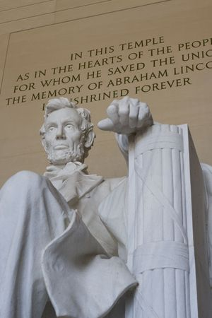 honest abe: Marble statue of Abe Lincoln the sixteenth president of the USA at Lincoln memorial