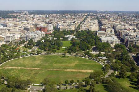 View on Washington DC with the White House from Washington Monument Stock Photo
